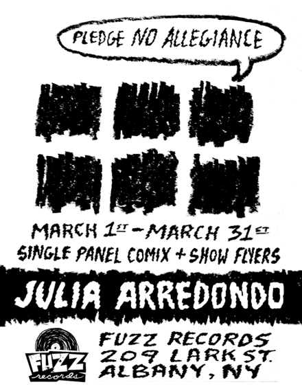 Upcoming solo art show featuring the work of Julia Arredondo in Albany, New York. Up for one month only. Postcard printed on a Risograph   printer.