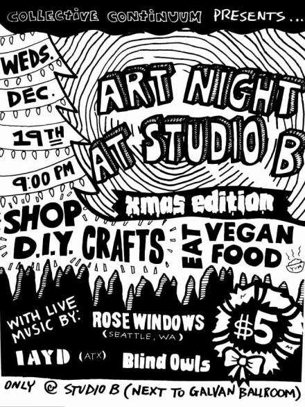 Show curated and hosted at Studio B Corpus Christi. Xerox/ photocopy flier.